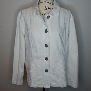 Chico's Platinum White Denim Jacket XL Embroidered